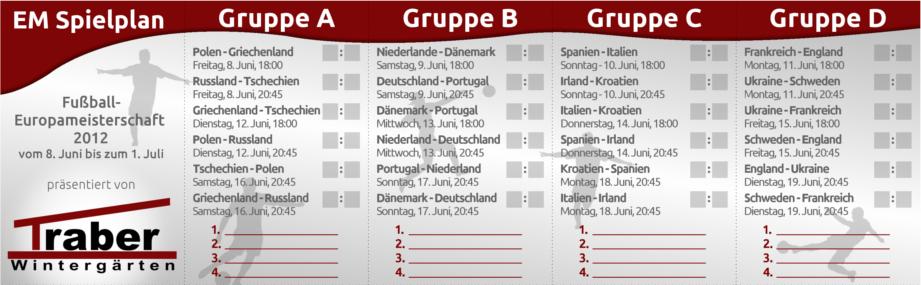 EM 2012 Spielplan auf Visitenkartengröße - Vorderseite